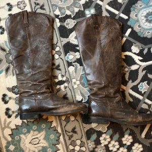 Tall brown rustic boots